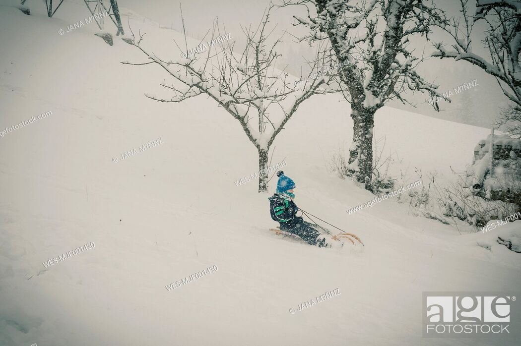 Stock Photo: Germany, Bavaria, Berchtesgadener Land, boy tobogganing.
