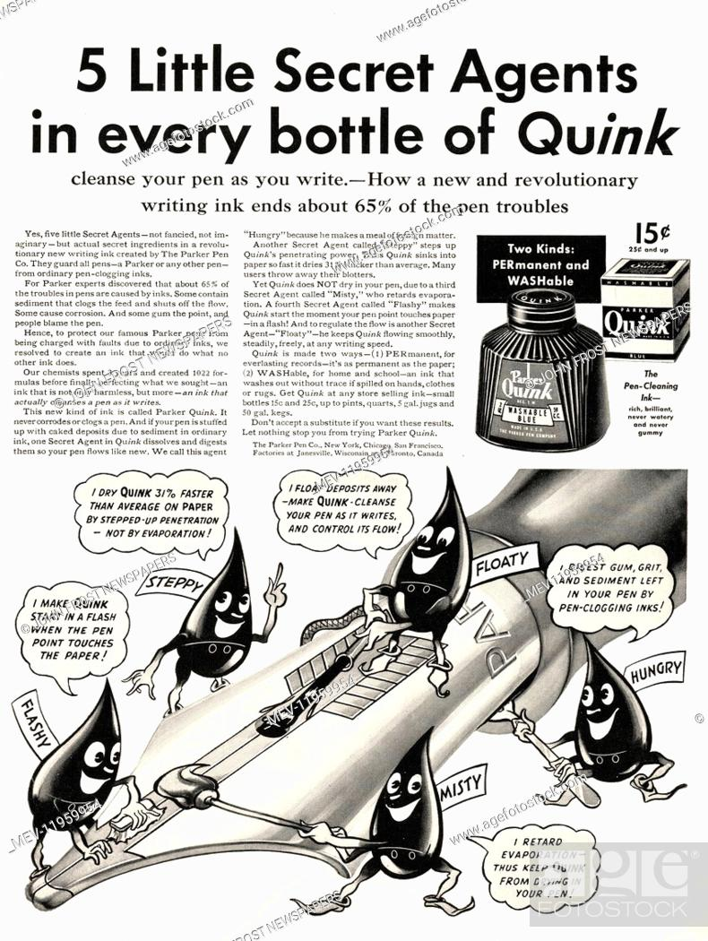 1939 U S  Magazine Parker Quink Ink Advert, Stock Photo, Picture And