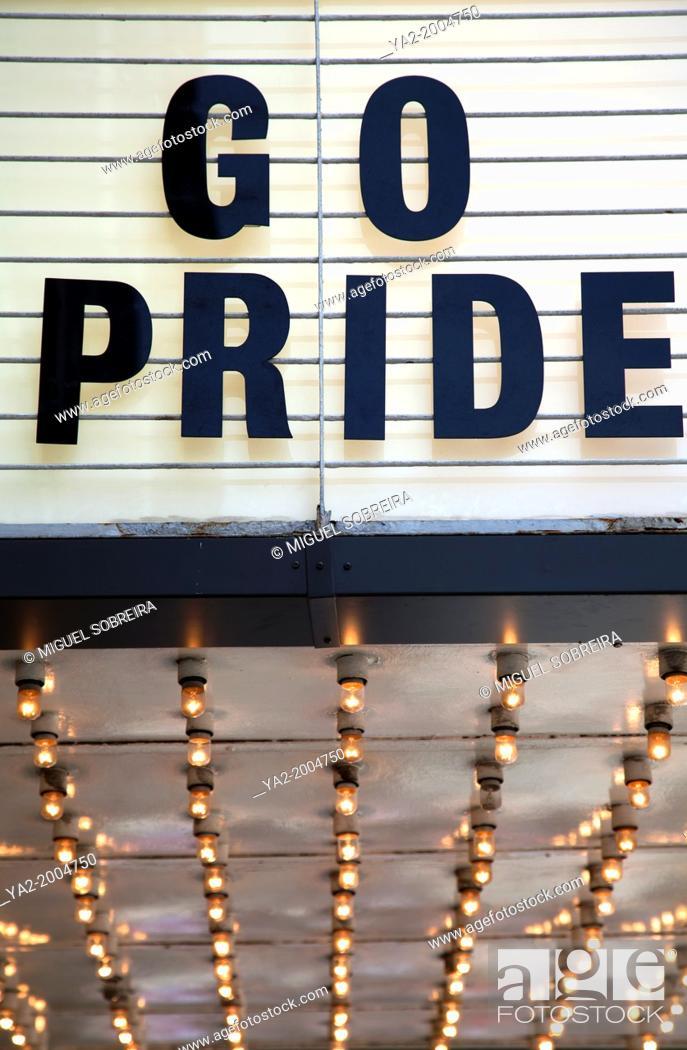 Stock Photo: Go Pride Title on Movie Theatre Board.