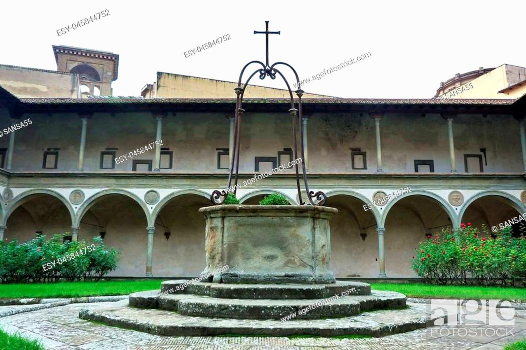 Stock Photo: Cloister of the Basilica of Santa Croce, Florence, Italy.