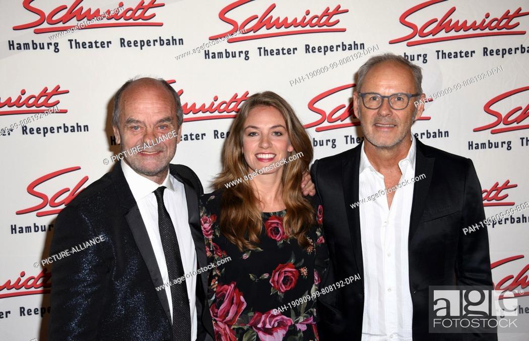 Stock Photo: 09 September 2019, Hamburg: Corny Littmann, actor (l-r), Tessa Aust, Schmidt Managing Director and Reinhold Beckmann, TV presenter.