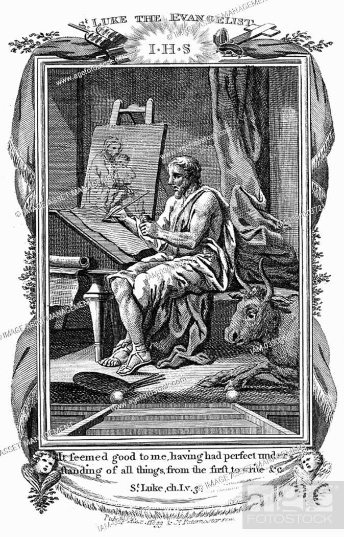 St Luke The Evangelist Writing His Gospel Bible Luke 1 3 Patron