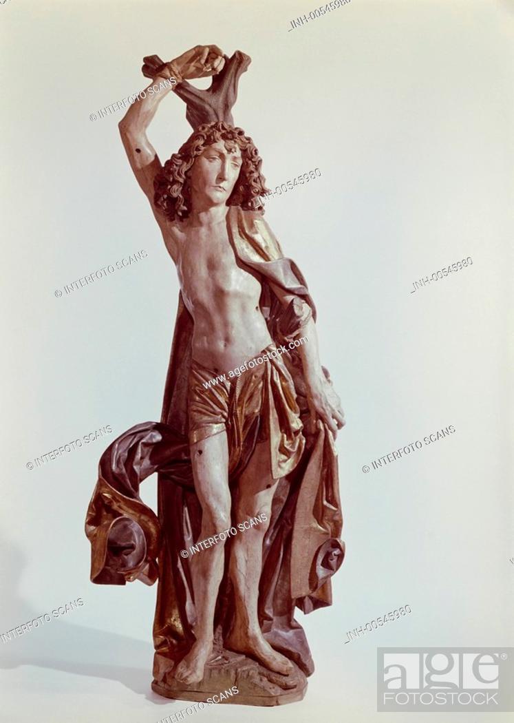 Stock Photo: fine arts, Riemenschneider, Tilman, circa 1460 - 1531, sculpture, Saint Sebastian, circa 1490, wood, Bavarian national museum, Munich, Germany, Europe.