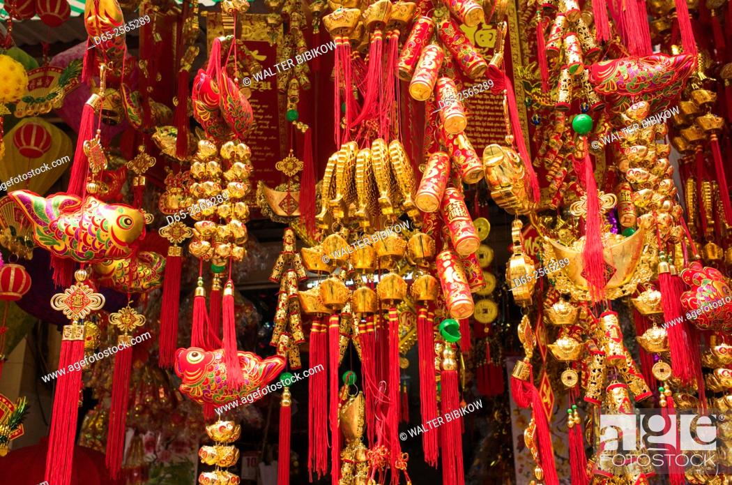 Stock Photo: Vietnam, Hanoi, Tet Lunar New Year, holiday decorations for sale.