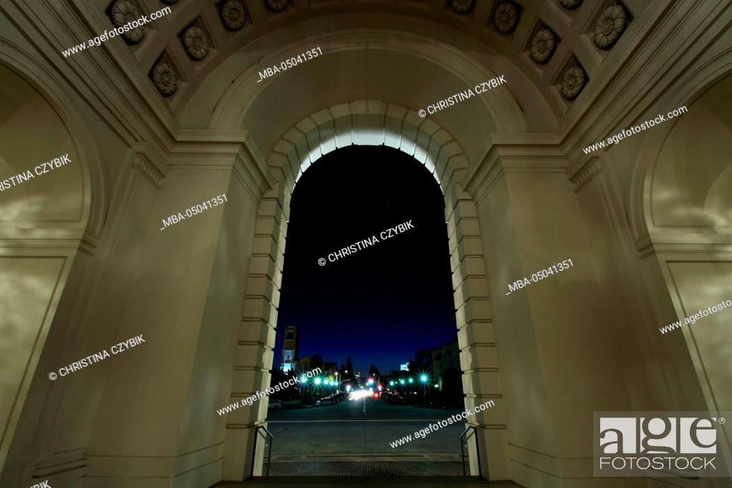 Stock Photo: Night Photography: Pasadena City Hall, Los Angeles, California September.