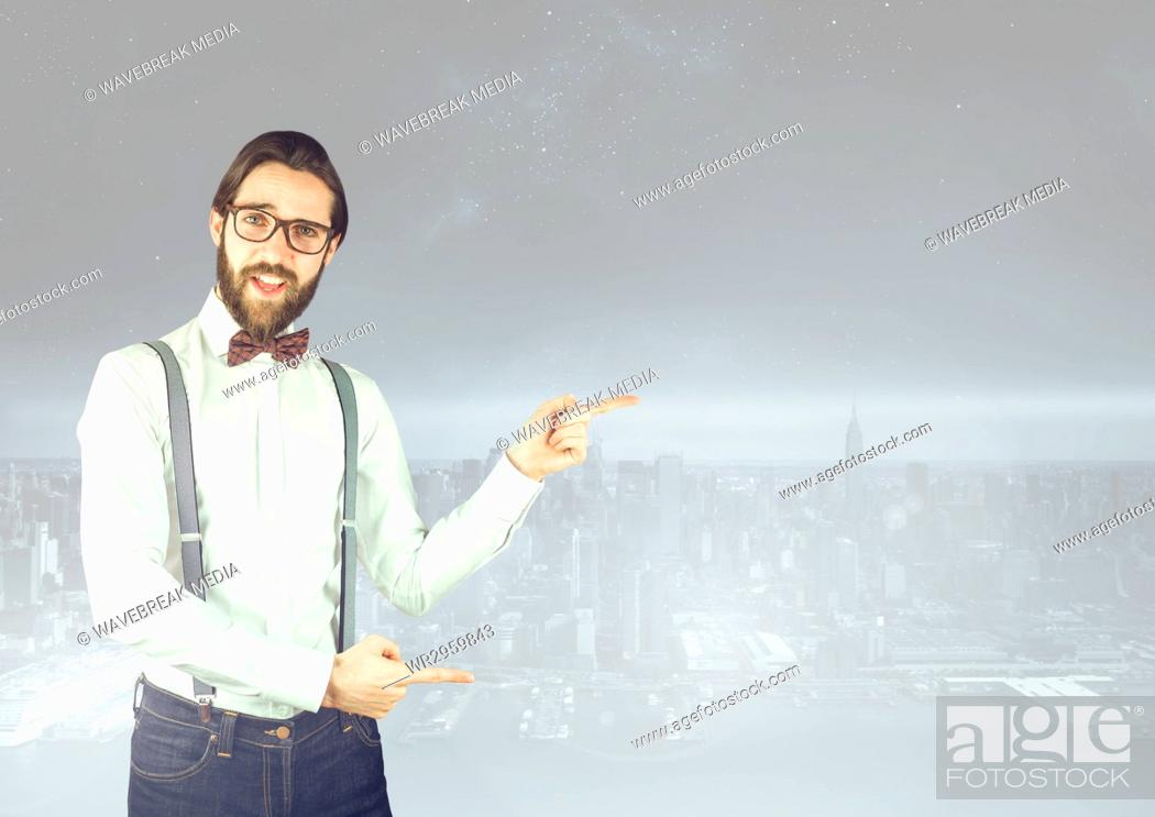 Stock Photo: Stylish Man pointing at a city.