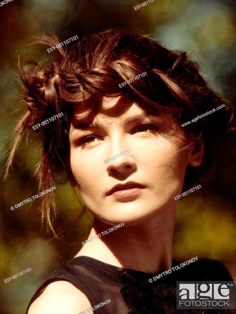 young pretty woman, portrait, kodak ektachrome film