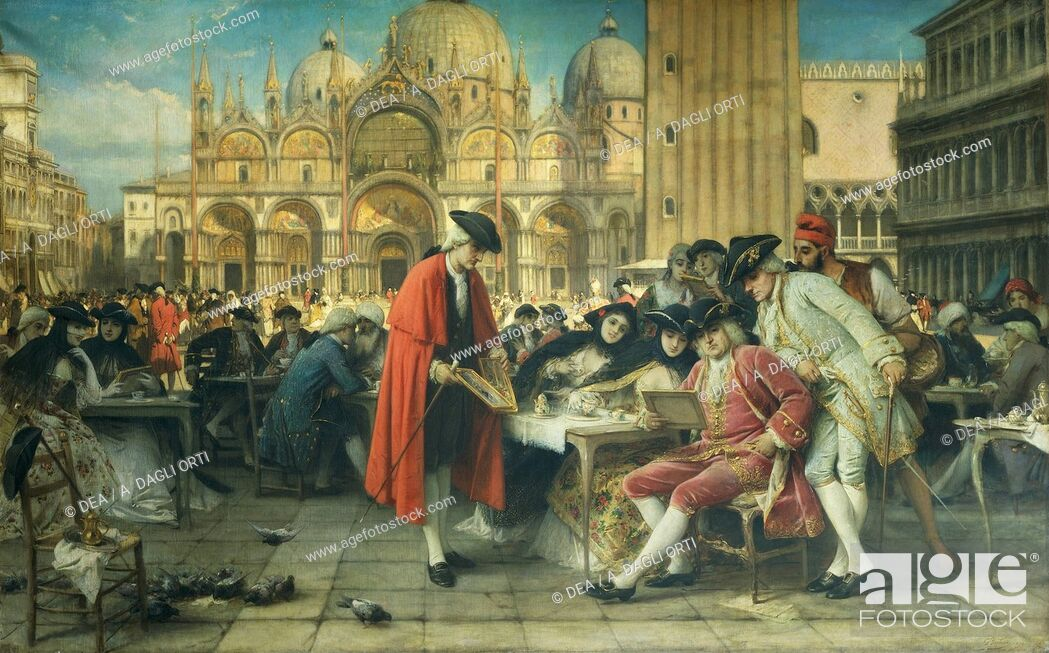 Stock Photo: The painter Francesco Guardi, Canaletto's rival, selling his pictures, 1892, by Giuseppe Bertini (1825-1898), oil on canvas.