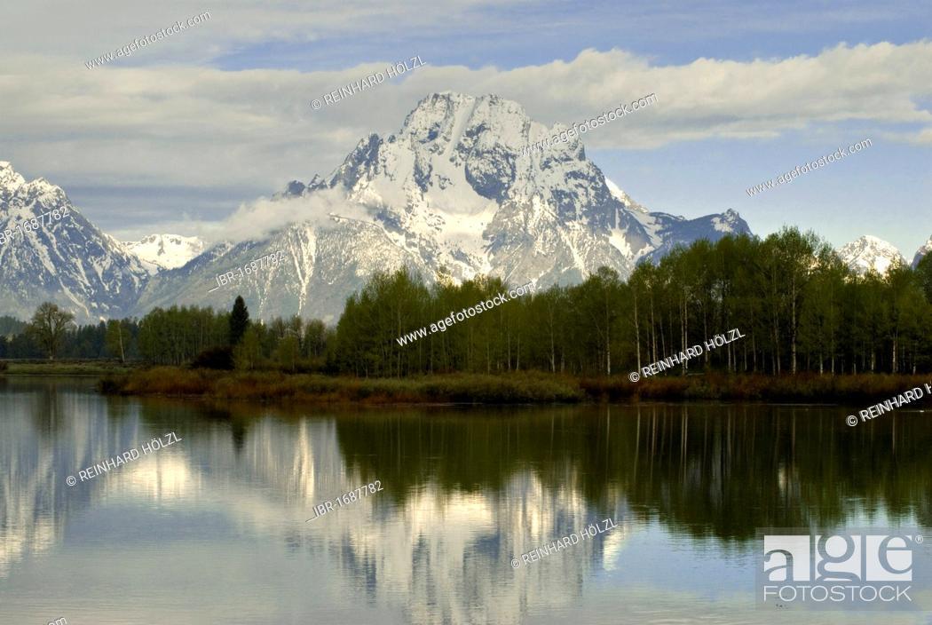 Stock Photo: Snake River in front of Teton Range, Oxbow Bend, Grand Teton National Park, Wyoming, USA, North America.
