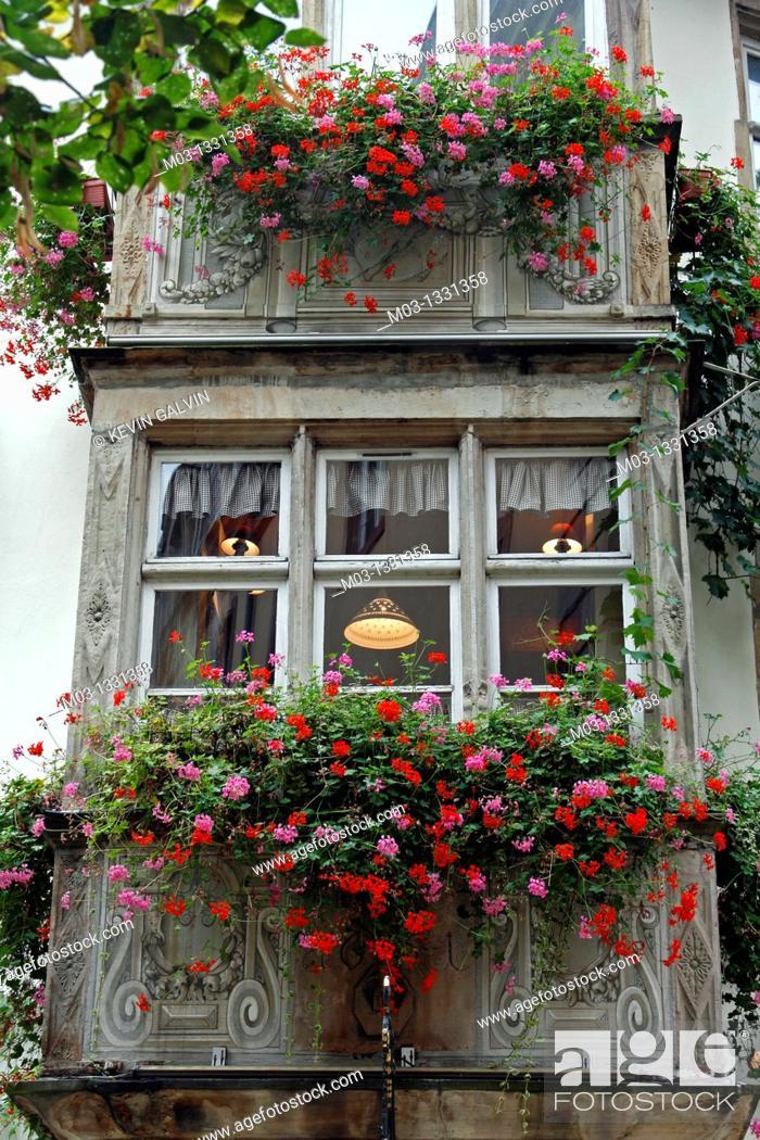 Stock Photo: France Alsace Strasbourg street scene hotel window display.