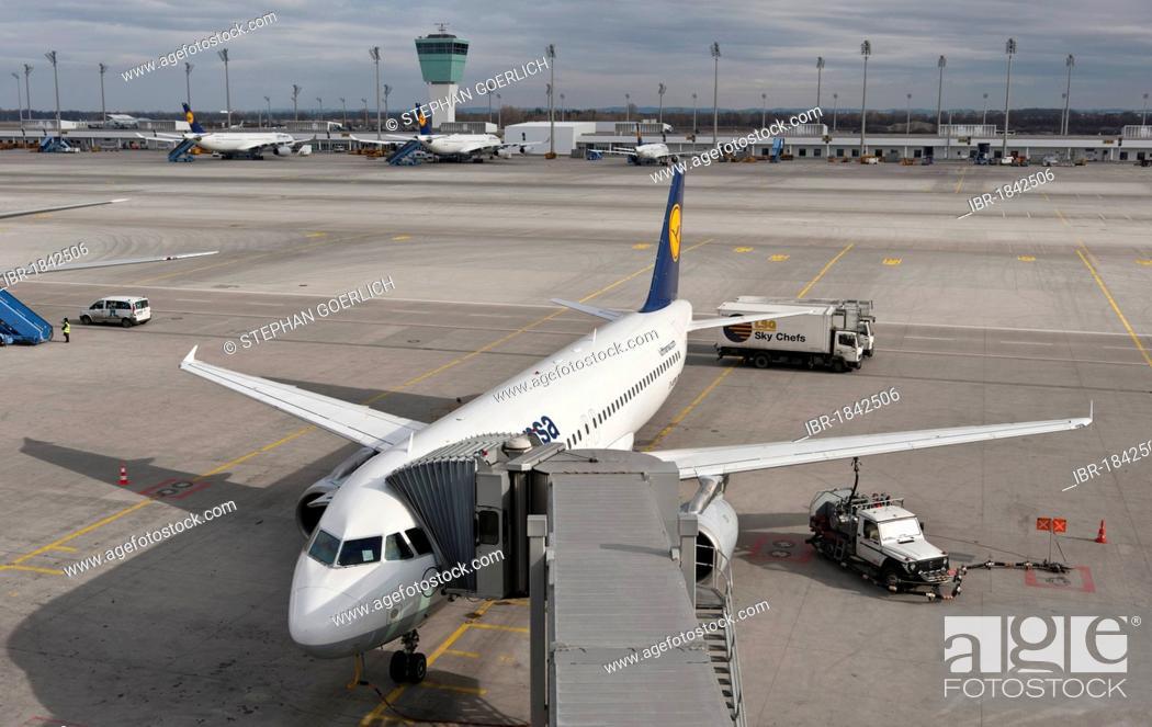 Stock Photo: Lufthansa Airbus A320-200, Wiesbaden, at Munich Airport, Bavaria, Germany, Europe.