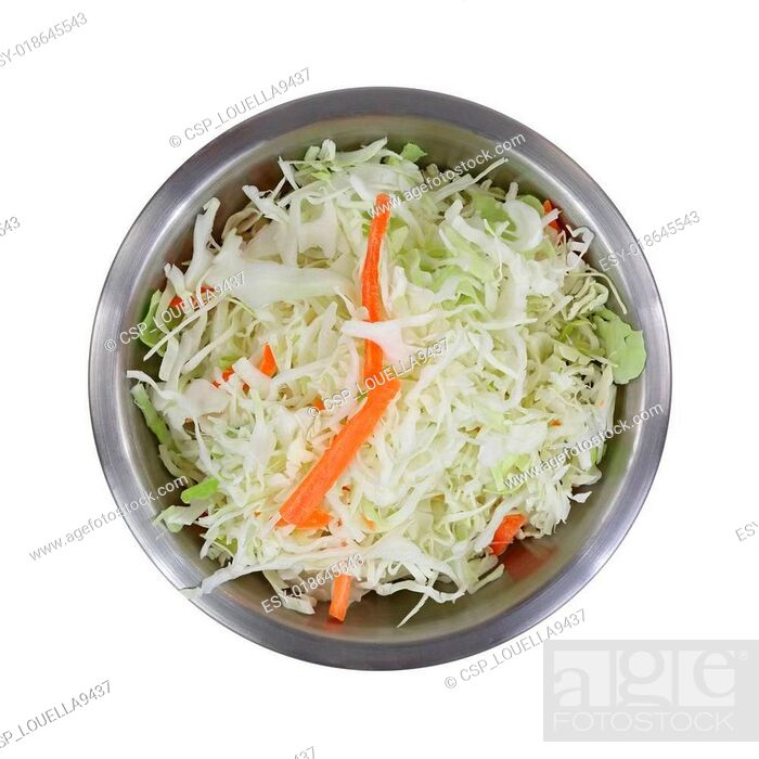 Stock Photo Coleslaw Stainless Steel Mixing Bowl Top View On White