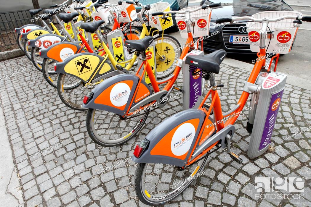 Stock Photo: Bikes at station of Vienna sharing system Citybike.