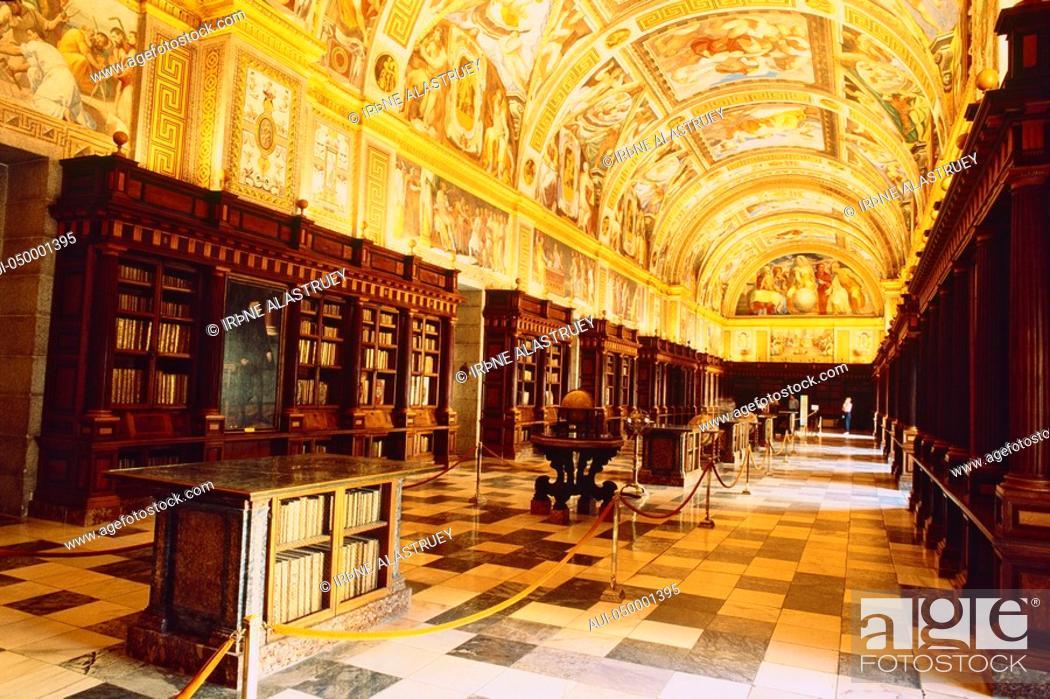Stock Photo: Spain - Madrid - neighbourhood - Royal Monastery of San Lorenzo El real - Library.