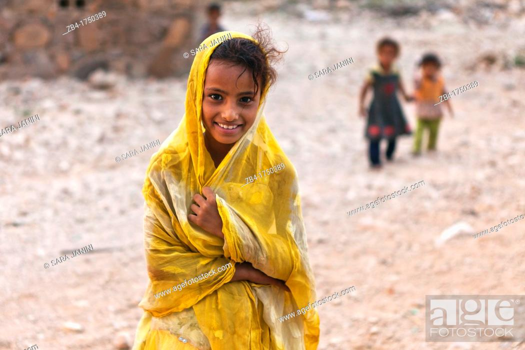 Stock Photo: Portrait of a village girl, Qalansiyah, Socotra island, listed as World Heritage by UNESCO, Aden Governorate, Yemen, Arabia, West Asia.