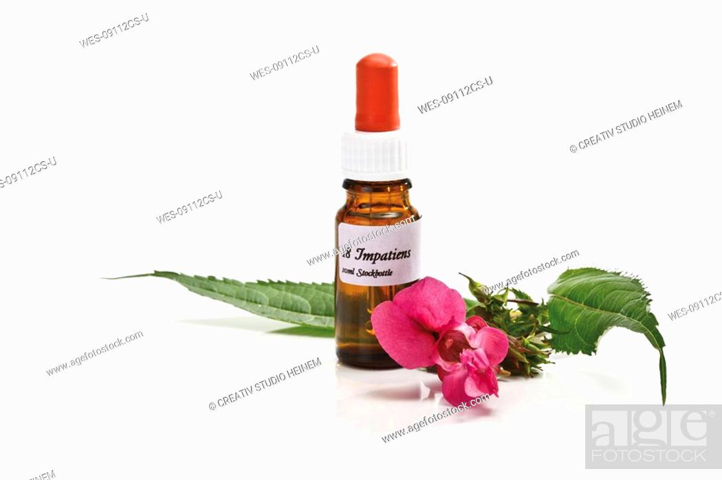 Stock Photo: Bottle with Bach Flower Stock Remedy, Impatiens.