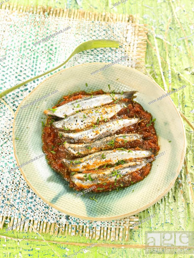 Stock Photo: anchoas a la cazuela / Anchovies.