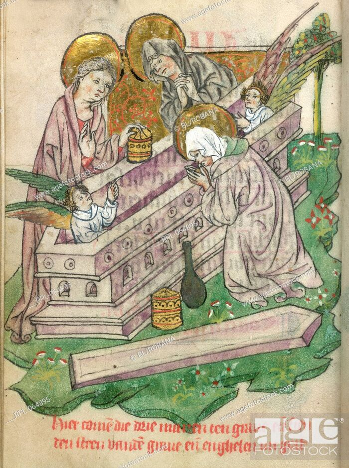 Imagen: Three Maries at the Sepulchre Whole folio The Three Maries with unguent-pots kneel by the empty tomb with an angel at each end.