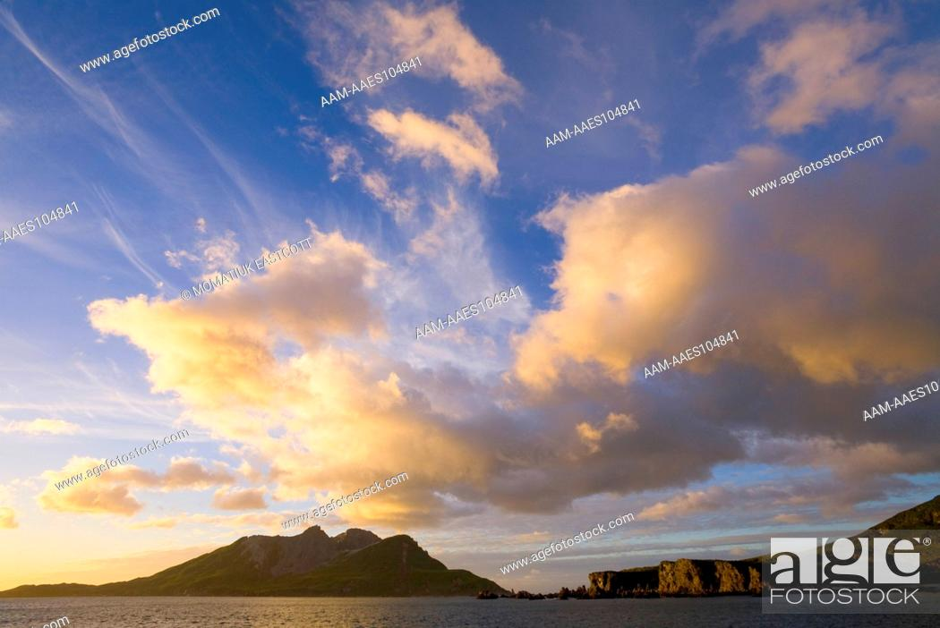 Imagen: Sunrise, rosy light on mountains of Salvesen Range, cumulus clouds and blue sky, fall, Gold Harbour, Southern Ocean, Antarctic Convergance, South Georgia Island.