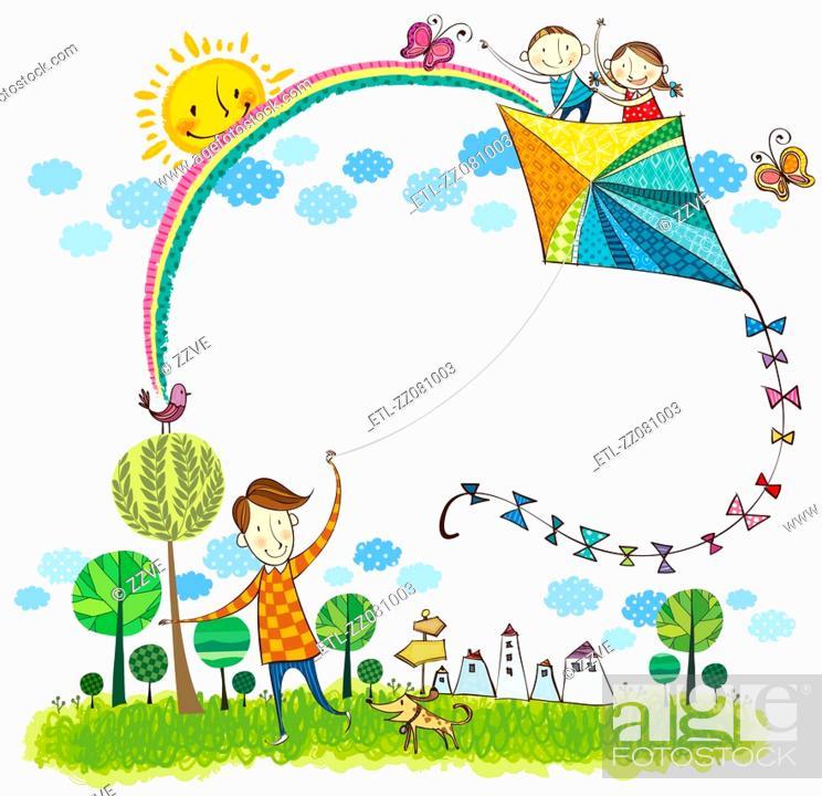 Stock Photo: Father flying kite.