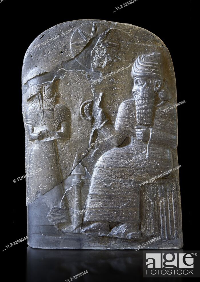 Stock Photo: Basalt Babylonian sculpture usurped by an Elamite king. 12th cent. BC from Suse. Inv AO 30043, The Louvre Museum, Paris.