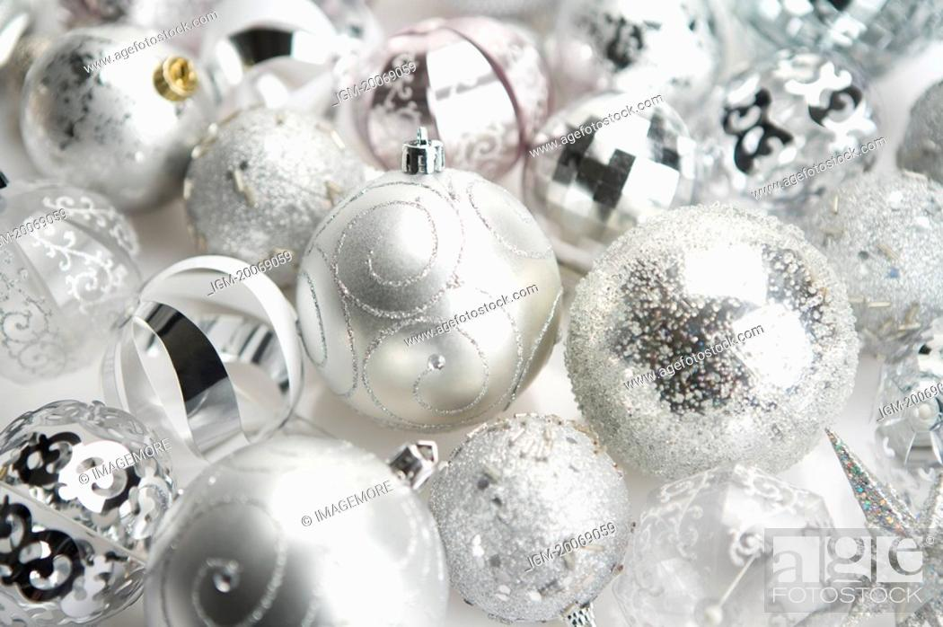 Stock Photo: Silver Christmas baubles.