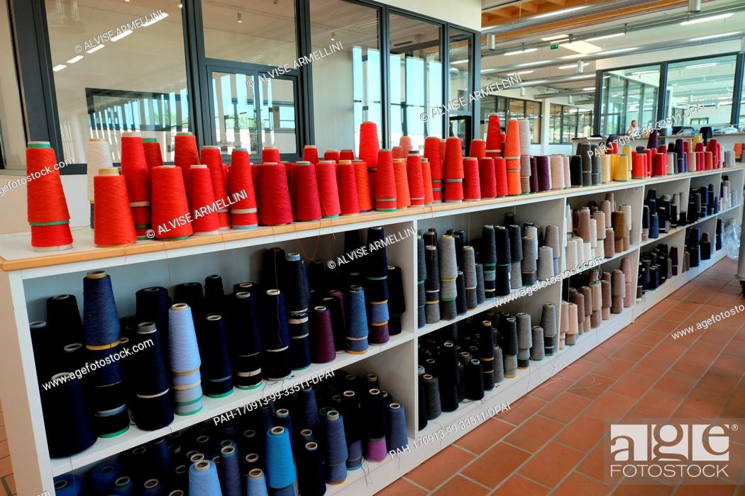 Stock Photo Coloured Spools Used To Manufacture Prototype Models At The Brunello Cucinelli Factory In
