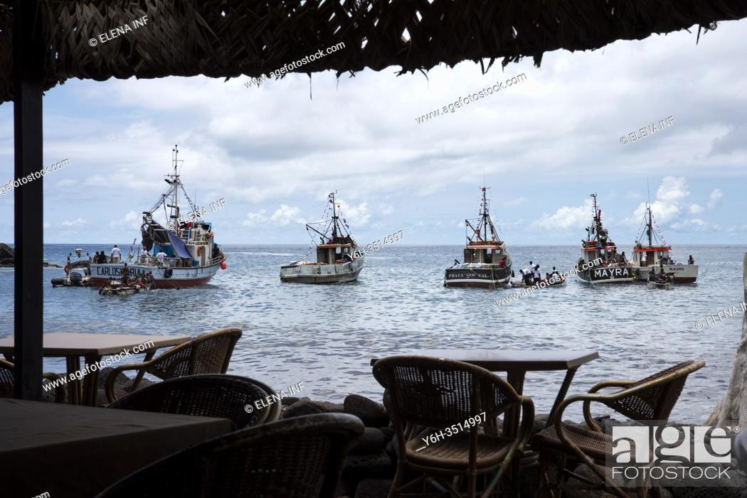 Stock Photo: View of boats from bar on the beach, Cidade Velha, Cape Verde.