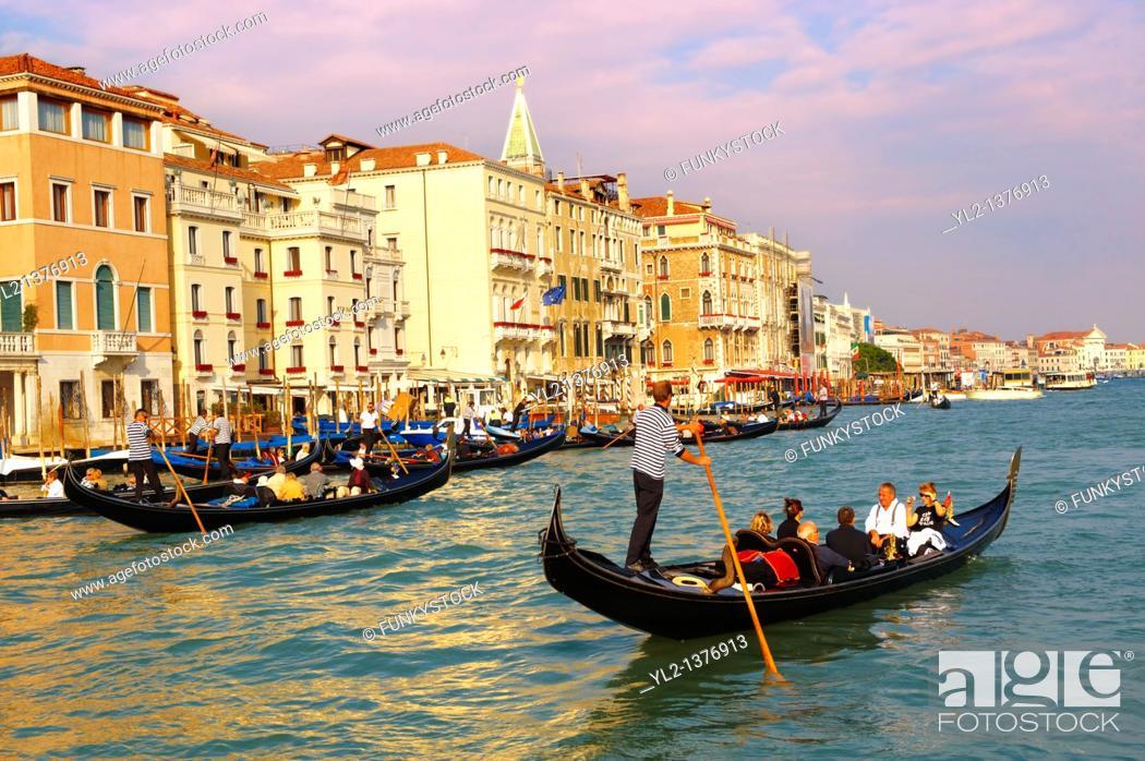 Stock Photo: Gondolas on the Grand Canal - Venice - Italy.