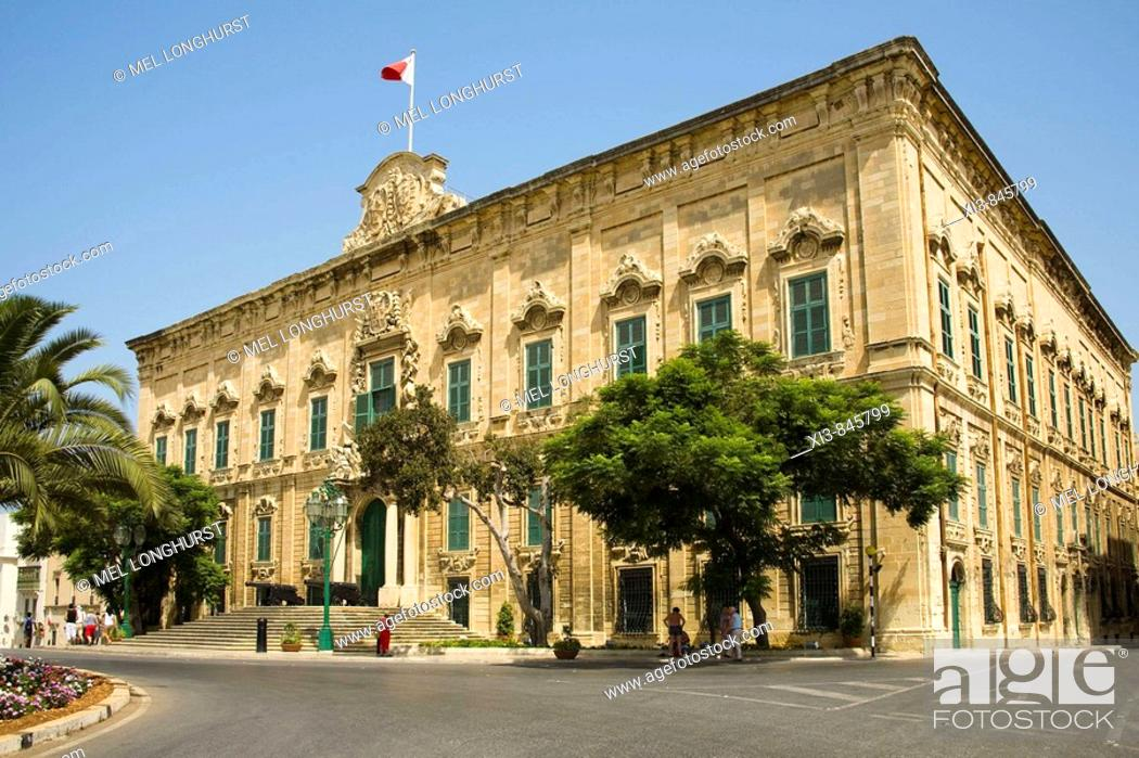 Stock Photo: Auberge de Castille et Leon, The Prime Minister's office, Castille Place, Valletta, Malta.