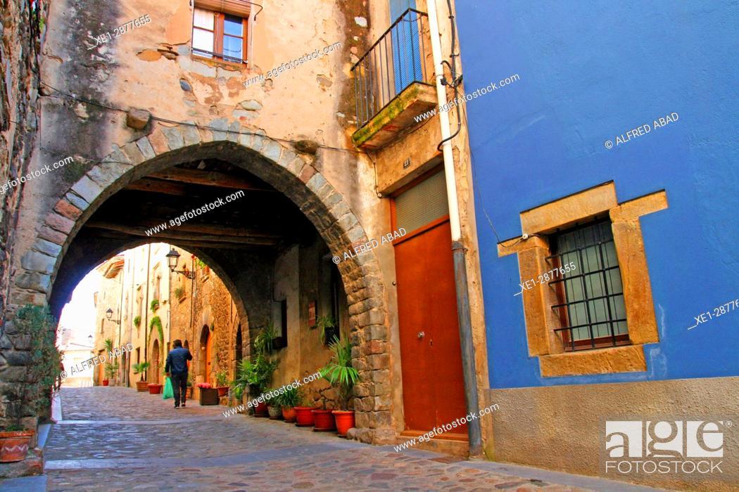Stock Photo: Street with arcade, Anglès, Girona, Catalonia, Spain.