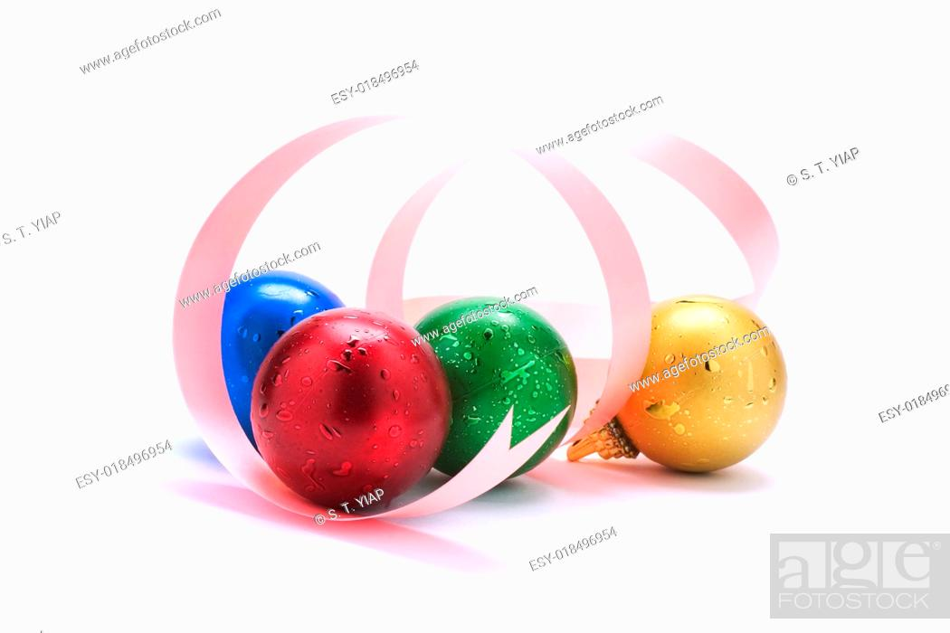 Photo de stock: Christmas decorations with dropout background.