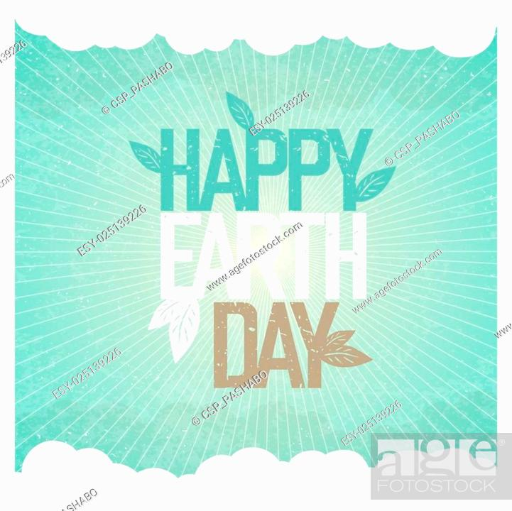Stock Vector: Vintage Earth Day Poster. Rays, leaves, clouds, sky. On old paper texture. Grunge layers easily edited.