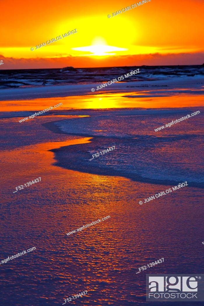 Stock Photo: Sunset, Dyrholaey, Southern Iceland, Iceland, Europe.
