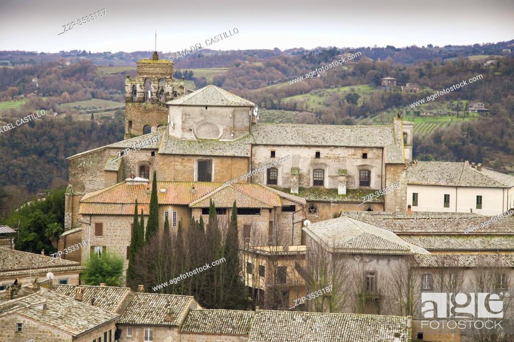 Stock Photo: Orvieto medieval town panoramic aerial view from the top of Moro tower in Umbria, Italy, Europe.