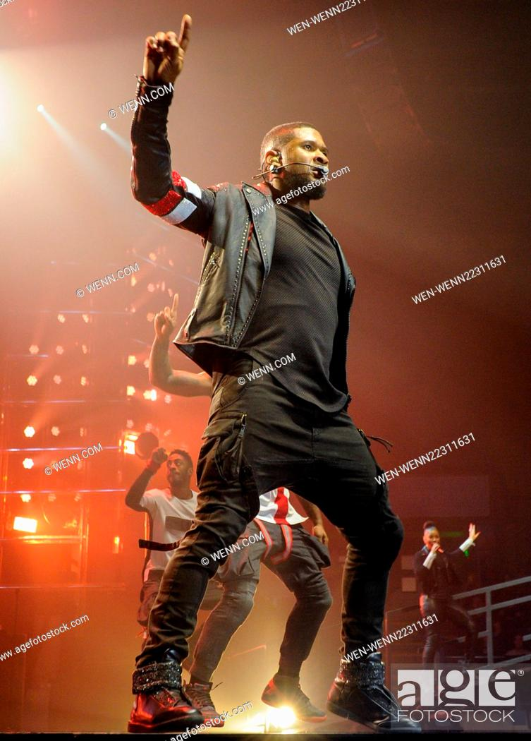 Usher performing live in concert as he opens his UK tour in