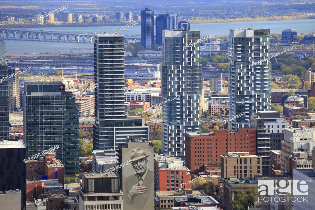 Stock Photo: Canada, Quebec, Montreal, skyline, apartment buildings, condominiums, Leonard Cohen image, .