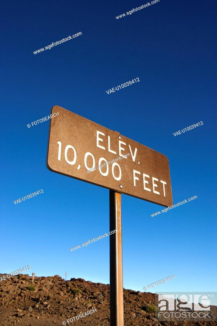 Stock Photo: Elevation sign in Haleakala National Park in Maui, Hawaii.