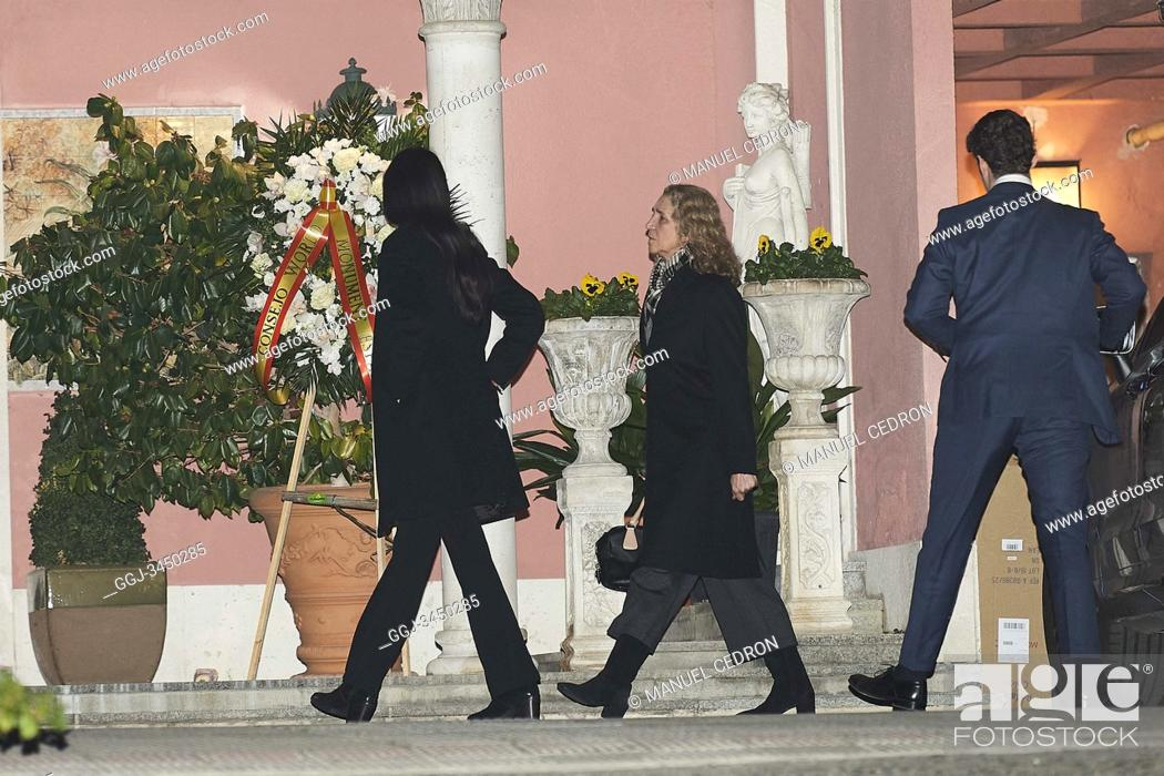 Stock Photo: Princess Elena de Borbon, Victoria Federica de Marichalar, Felipe Juan Froilan de Marichalar attends Princess PIlar Borbon funeral chapel installed in the.