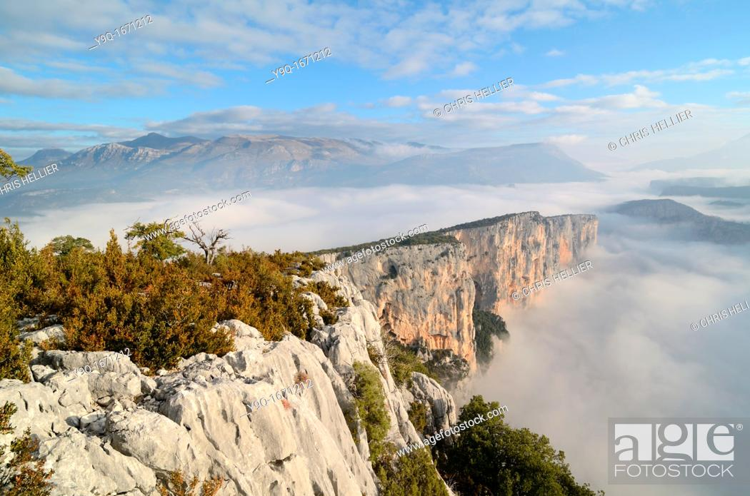 Stock Photo: Escalès Cliffs and Early Morning Mist Verdon Gorge Alpes-de-Haute-Provence Provence France.