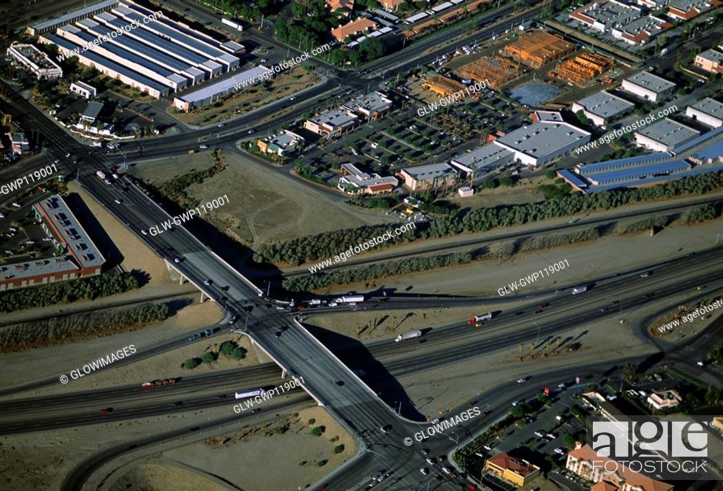 Stock Photo: Suburban developments, Southern California, Aerial view.