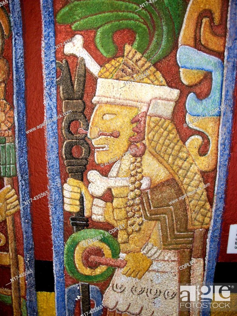 Stock Photo: Mayan priest, primitive art from Chichen Itza. Yucatan, Mexico.