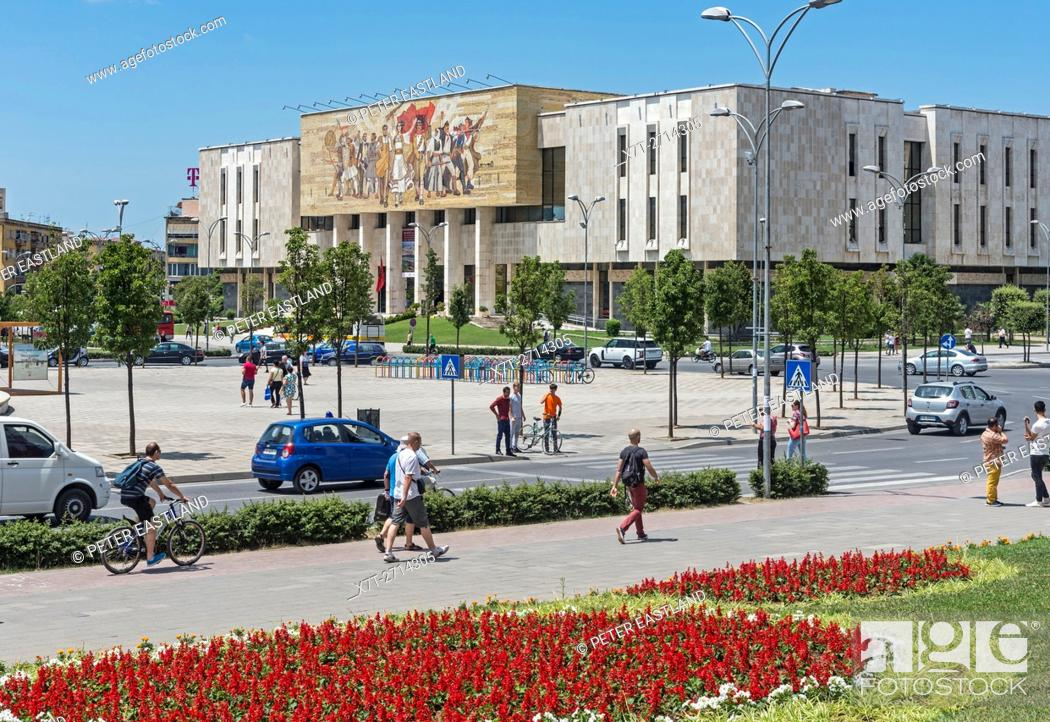 Stock Photo: Looking across Skanderbeg Square to the National Historical Museum, Tirana, Albania, .