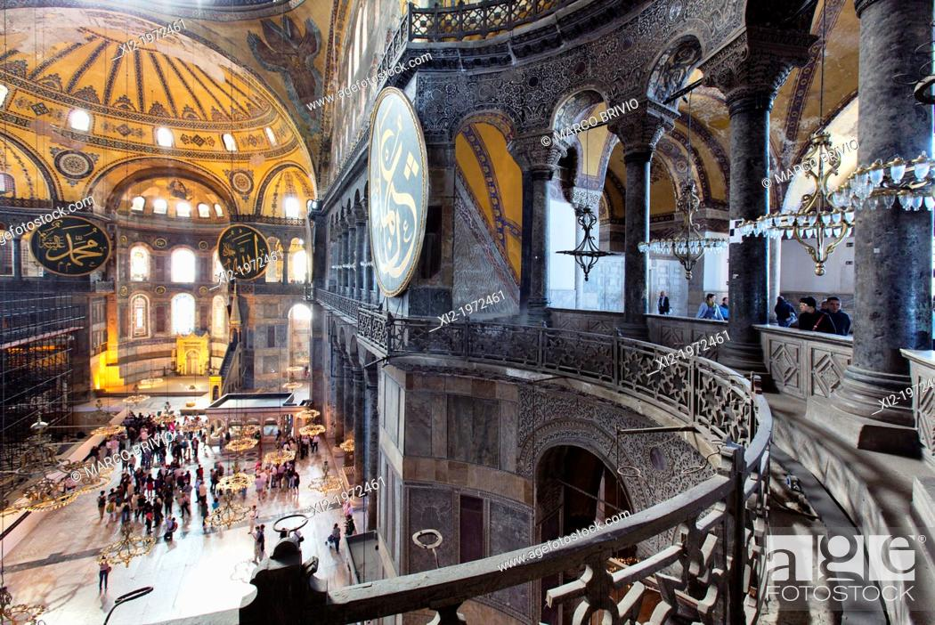 Stock Photo: Hagia Sophia (Ayasofya) is a former Orthodox patriarchal basilica (church), later a mosque, and now a museum in Istanbul, Turkey.