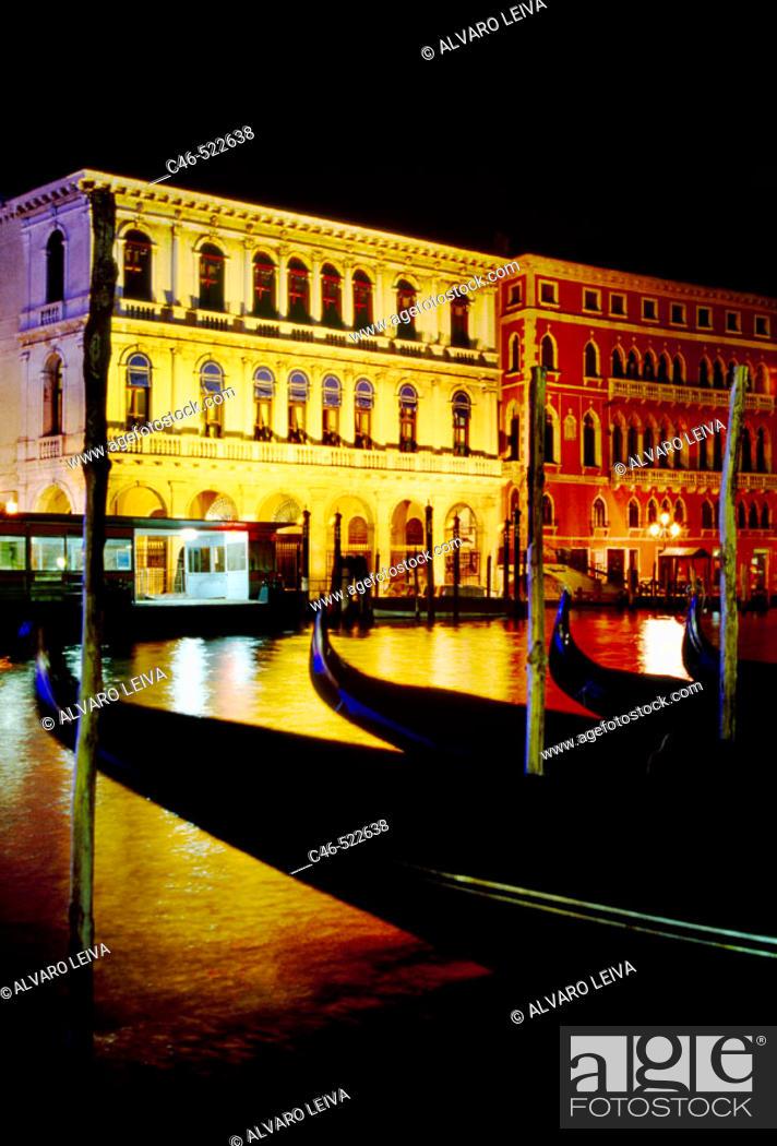 Stock Photo: Gondolas on Grand Canal, the palazzo Dolfin Manin on the left and Palazzo Bembo on the right Venice. Veneto, Italy.