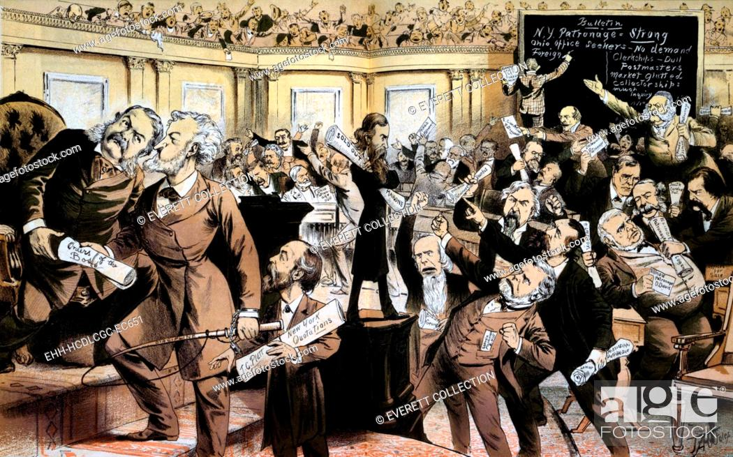 Stock Photo: 'This is not the New York Stock Exchange, it is the patronage exchange, called U.S. Senate'. Print satirizing the machine politics of the Gilded Age.