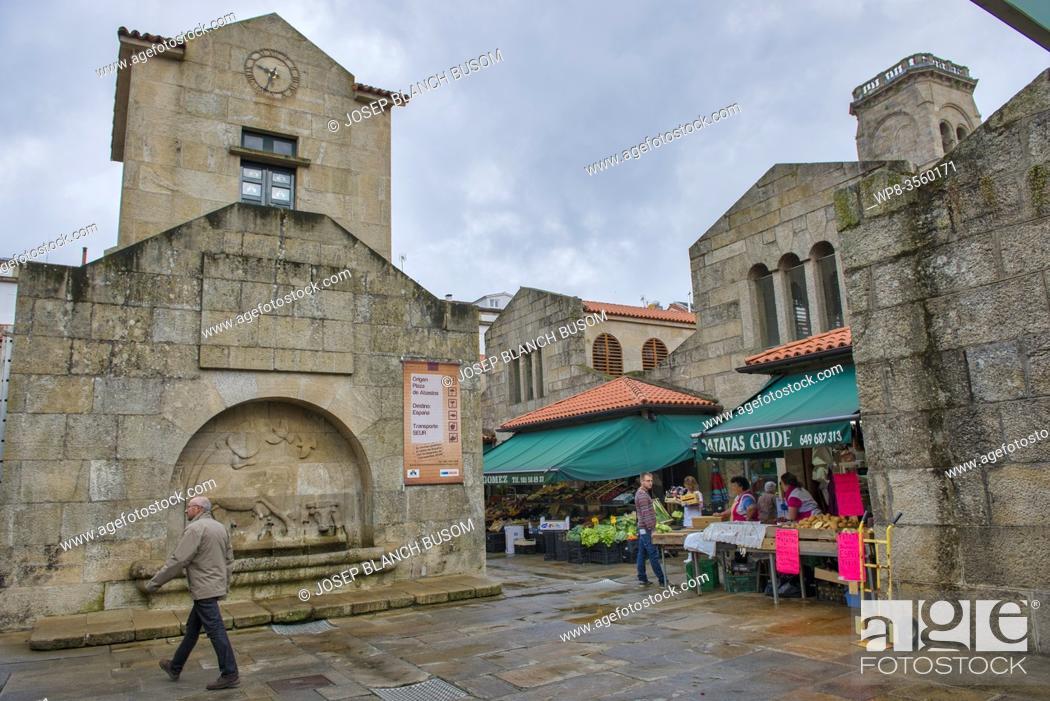 Stock Photo: Food Market, Santiago de Compostela, Galicia, Spain.