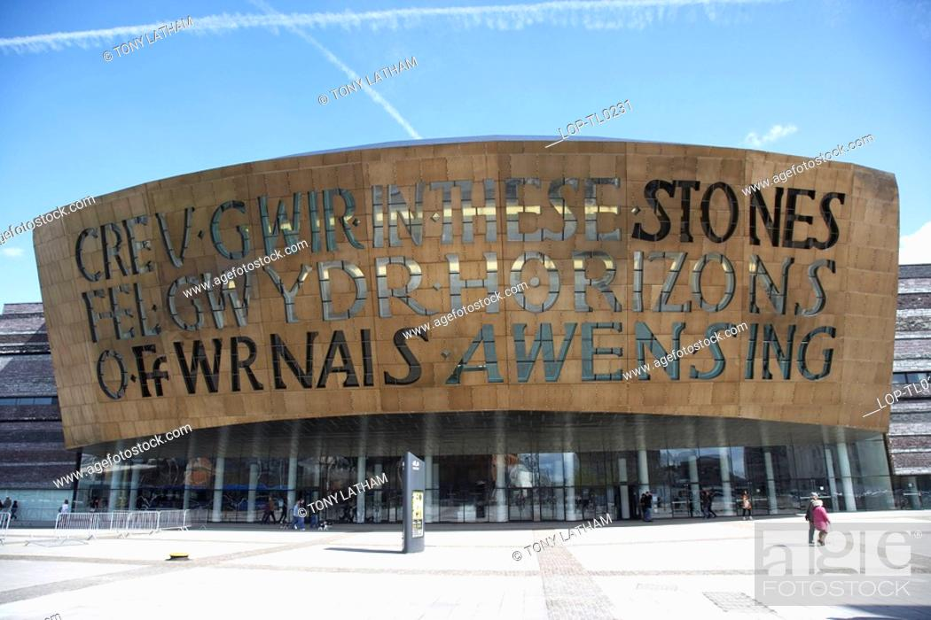 Stock Photo: Wales, Cardiff, Cardiff Bay, The Wales Millennium Centre at Cardiff Bay.