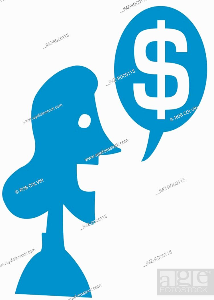 Stock Photo: A woman and dollar symbol in speech bubble.
