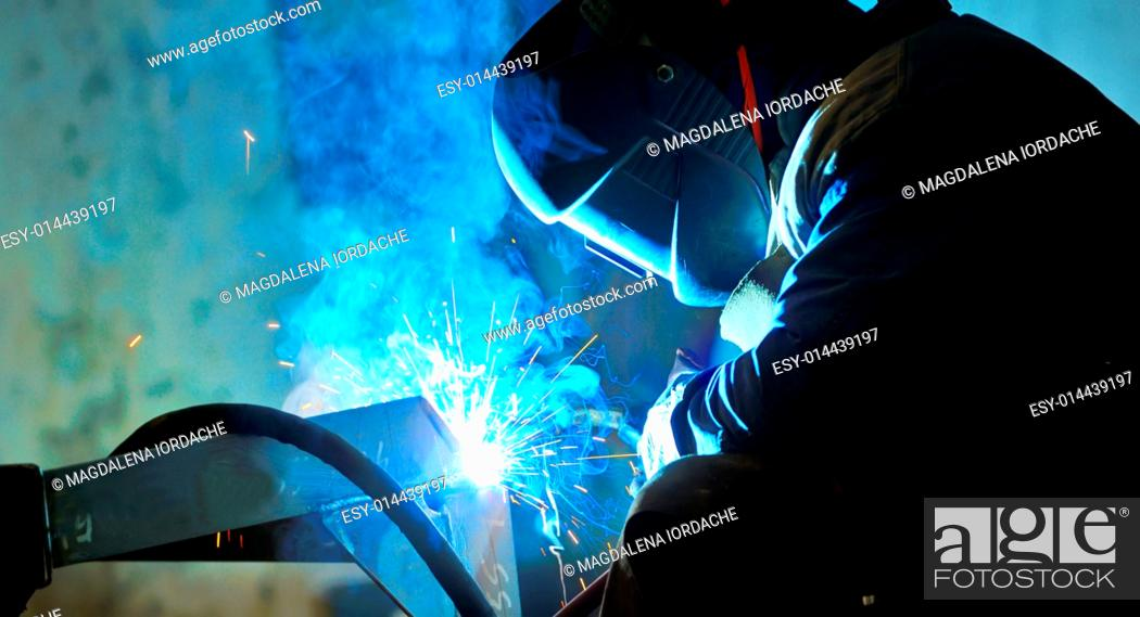 Stock Photo: welding with mig-mag method.